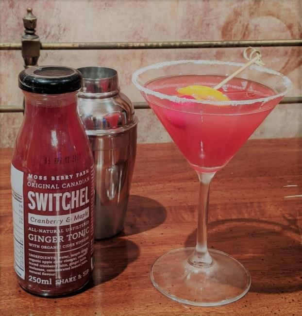 Vodka and Cranberry drink mixed with Cranberry Maple Switchel